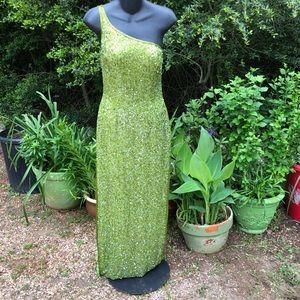 Scalia silk beaded lime green formal sz medium